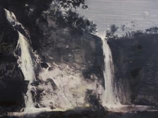 Falls-mist-dusk, oil on birch ply, 16x20 inches, 2018