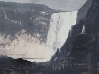 Falls-mist-overcast light, oil on birch ply, 16x20 inches, 2018