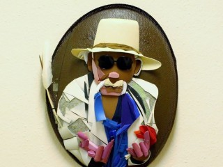 EJ Peters portrait relief found objects 90cmx60cmx15cm