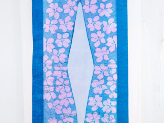 Blue Pink Textile wax resist and dye on cotton and silk organza w37xh80inches