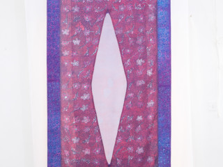 Purple Textile wax resist and dye on cotton and silk organza w34xh76inches